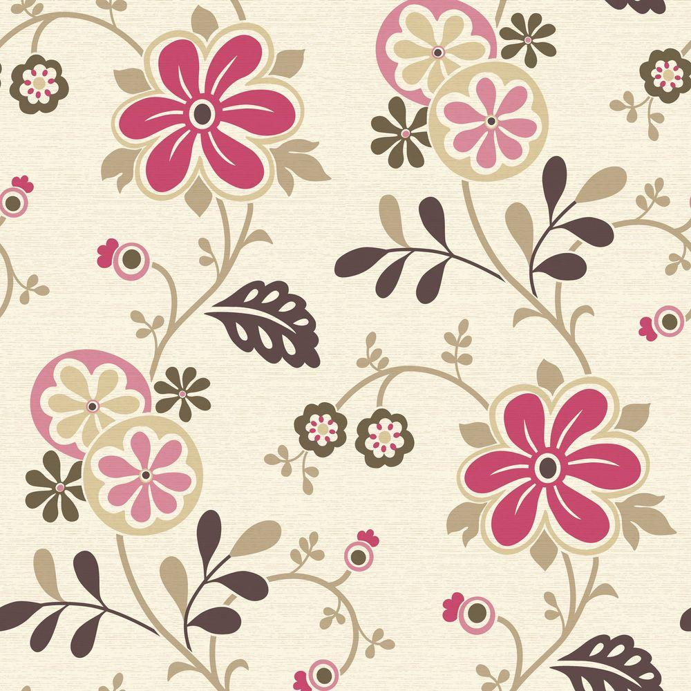 Beacon House Amelie Pink Modern Floral Trail Wallpaper