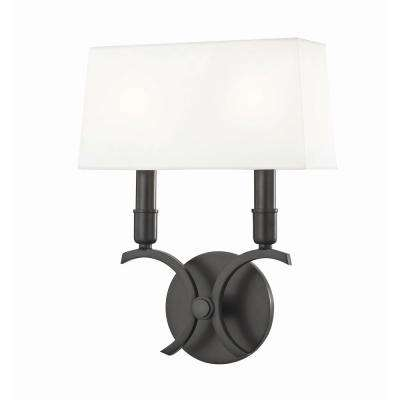 Gwen 2-Light 10.25 in. W Old Bronze Wall Sconce with White Linen Shade
