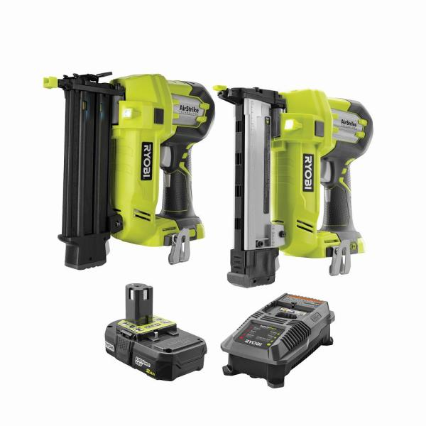 18-Volt ONE+ Cordless AirStrike 18-Gauge Brad Nailer and 18-Gauge Narrow Crown Stapler with 2.0 Ah Battery and Charger