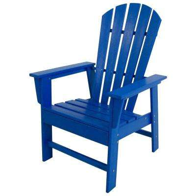 South Beach Pacific Blue All Weather Plastic Outdoor Dining Chair