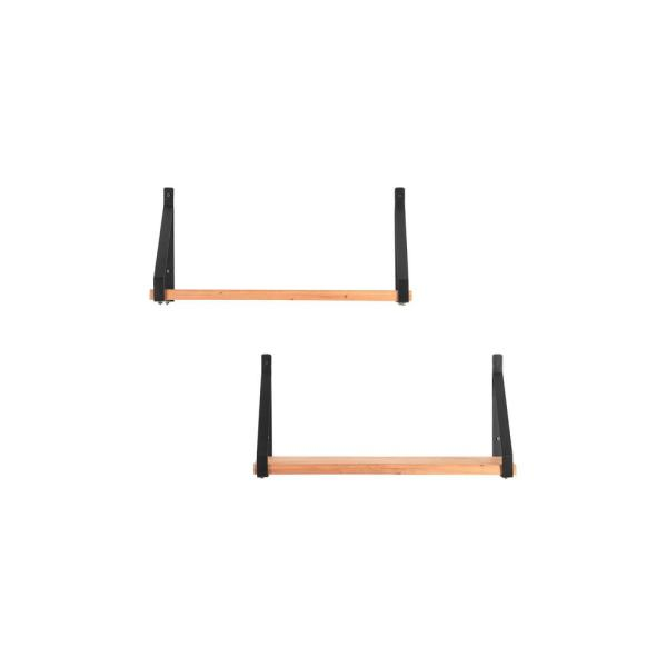 11 in. H x 24 in. W x 8 in. D StyleWell Wood Wall-Mount Bookshelf with Black Metal Wrap Brackets (Set of 2)