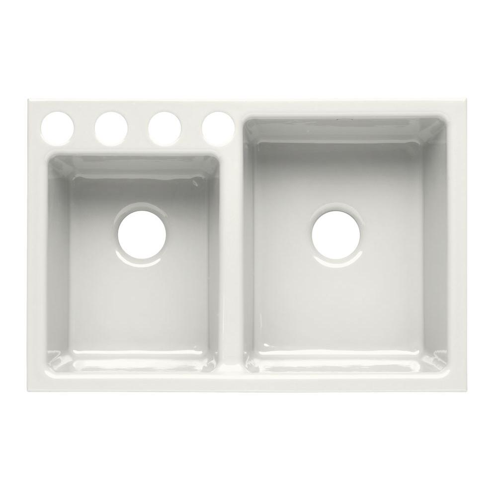 KOHLER Clarity Undercounter Cast Iron 33x22x9 4-Hole Kitchen Sink in White