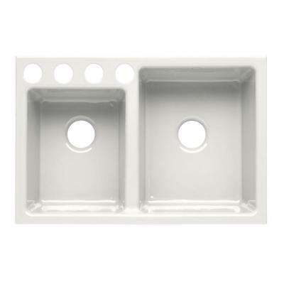 Clarity Undercounter Cast Iron 33x22x9 4-Hole Kitchen Sink in White