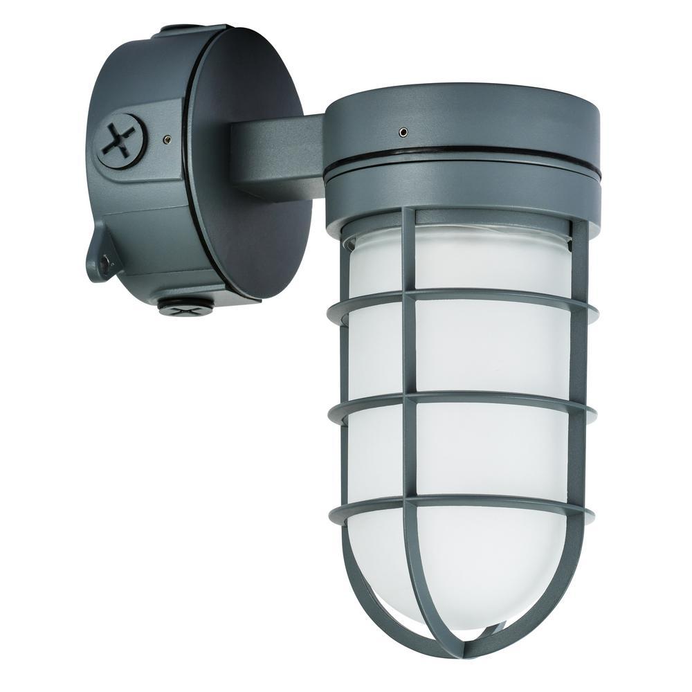 22-Watt Gray Indoor/Outdoor Integrated LED Vapor Tight Area Light Ceiling/Wall Convertible