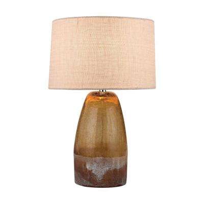 25 in. Vertical Reaction Ceramic Table Lamp in Amber