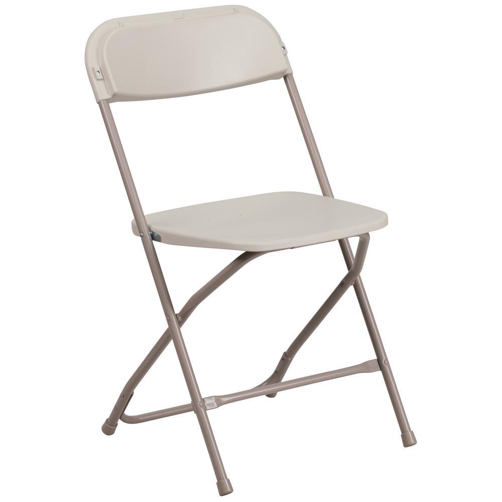 Hercules Series 800 lb. Capacity Premium Beige Plastic Folding Chair