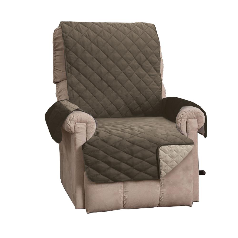 Kaylee Collection Fossil Brown Reversible Quilted Recliner Furniture Protector