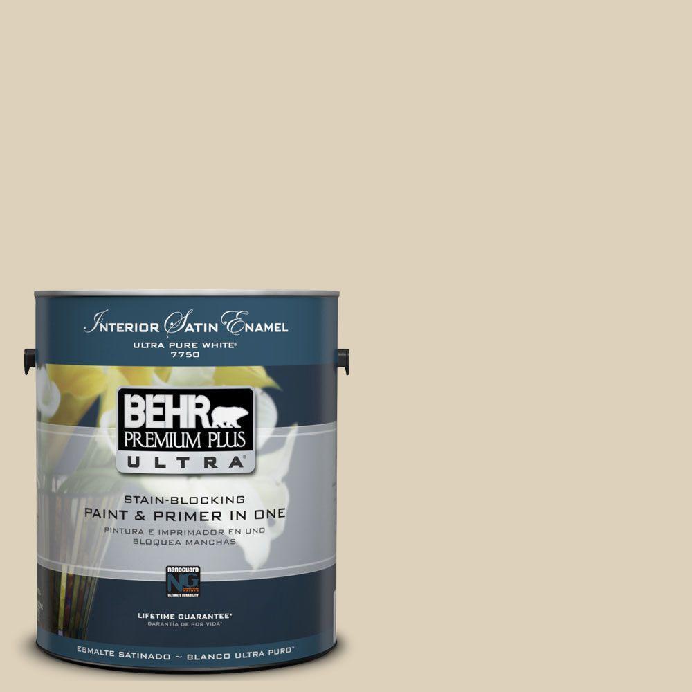 BEHR Premium Plus Ultra 1-Gal. #UL160-14 Natural Almond Interior Satin Enamel Paint