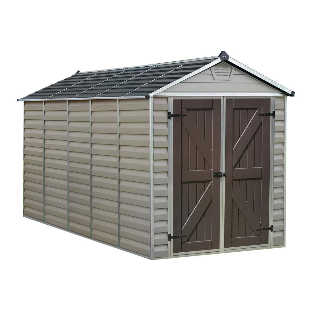 palram 6 ft x 12 ft tan skylight shed