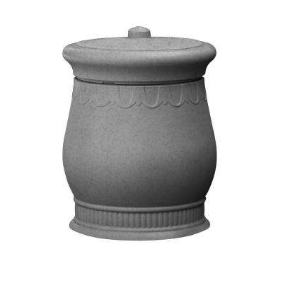 Savannah 23 in. x 23 in. x 32 in. Polyethylene Urn Waste and Storage Bin in Light Granite