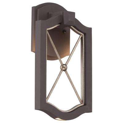 Eastborne 13.25 in. Sand Bronze with Gold Highlights Outdoor Integrated LED Wall Mount Lantern