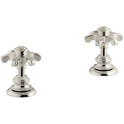 Artifacts Bathroom Sink Prong Handles in Vibrant Polished Nickel