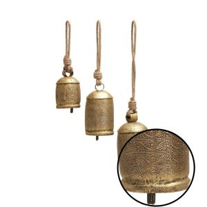 Litton Lane-Gold Brass Iron Bells with Rope Hangers (Set of 3)