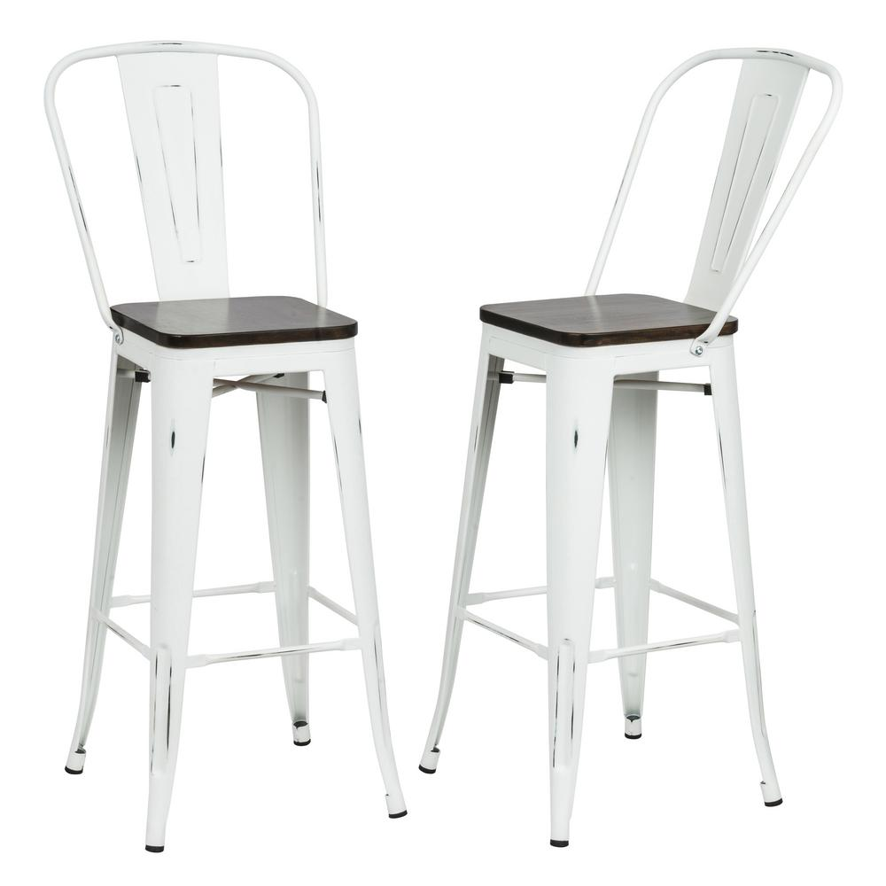 Carolina Forge Ash 30 In Antique White Wood Seat Bar Stool Set Of
