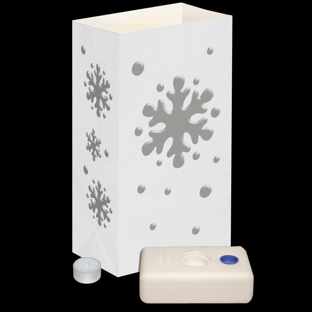 Lumabase 11 in. Flame Resistant Snowflake Candle Luminaria Kit (Set of 12)