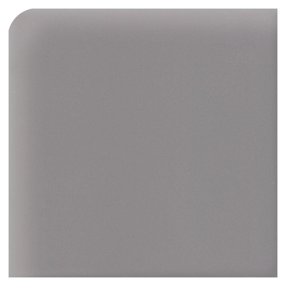 Semi-Gloss Suede Gray 2 in. x 2 in. Ceramic Bullnose Outcorner