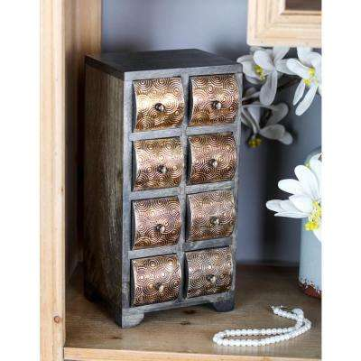 Dark Brown Vertical Rectangular Jewelry Chest with 8-Curved Paneled Drawers