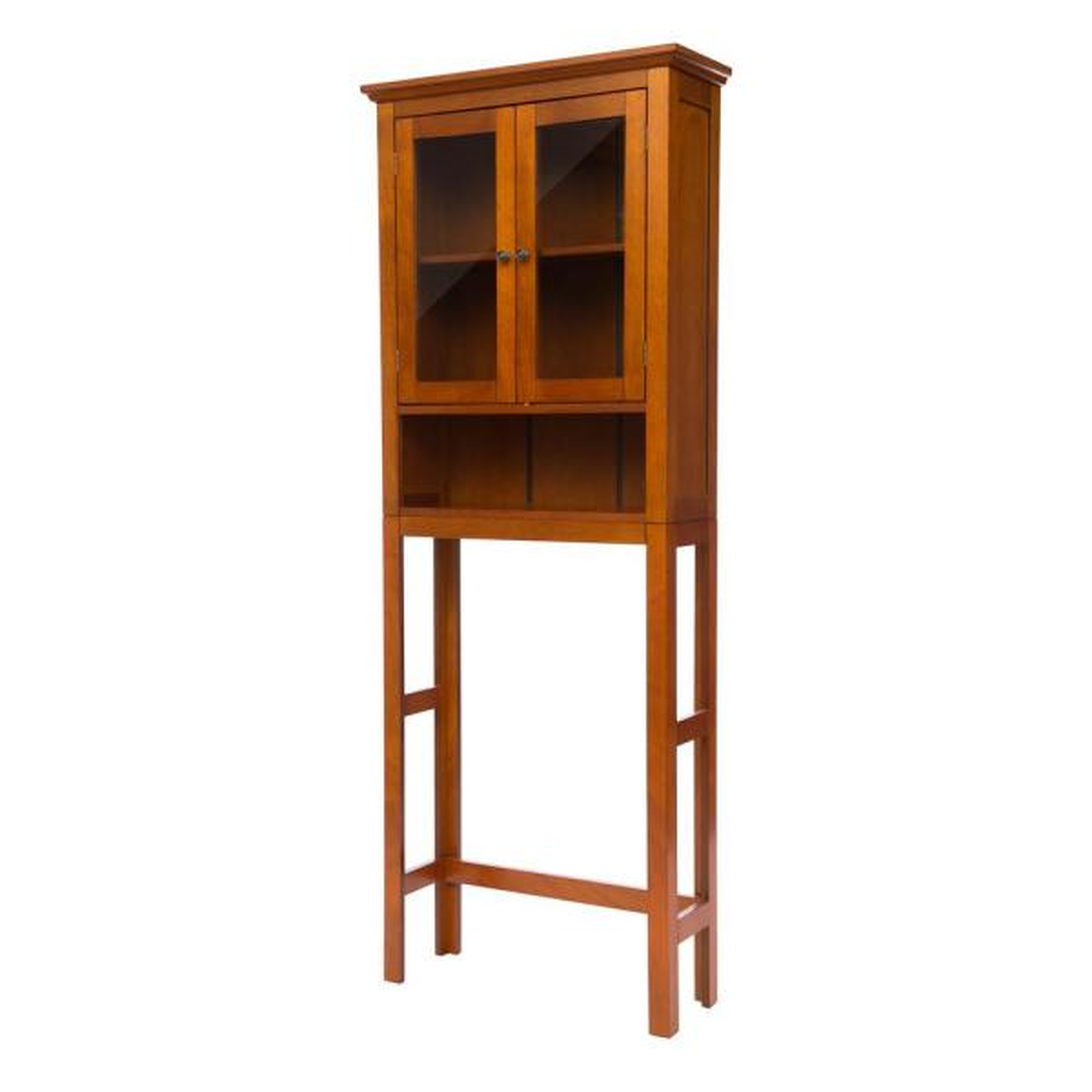 Glitzhome 68.25 in. H Mahogany Brown Cabinet