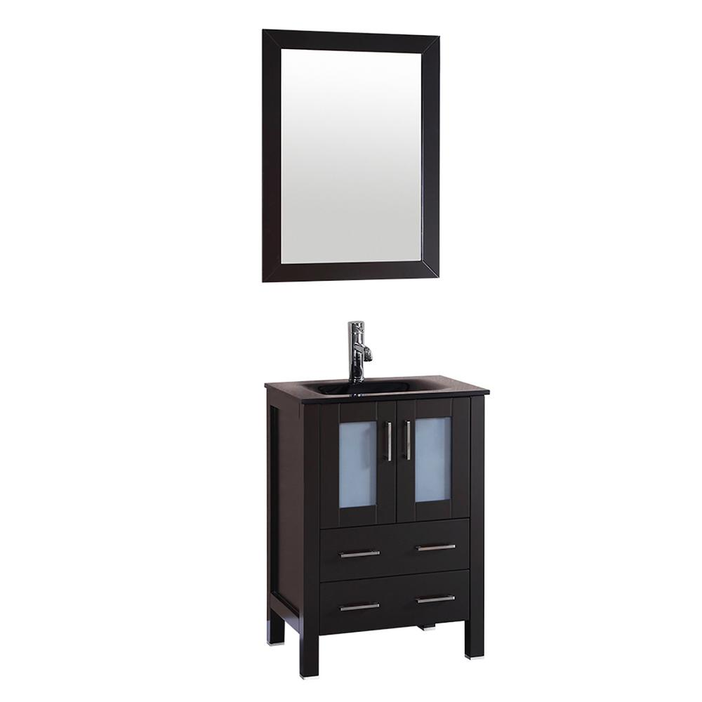 Bosconi Bosconi 24 in. W Vanity in Espresso with Tempered Glass Vanity Top in Black with Black Basin