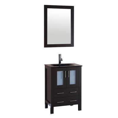 Bosconi 24 in. W Vanity in Espresso with Tempered Glass Vanity Top in Black with Black Basin