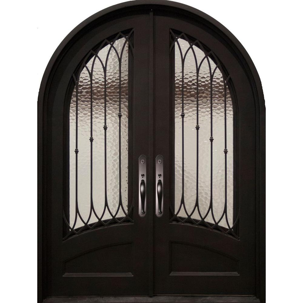 Iron Doors Unlimited 62 in. x 82 in. Concord Classic 3/4 Lite Painted Oil Rubbed Bronze Decorative Wrought Iron Prehung Front Door