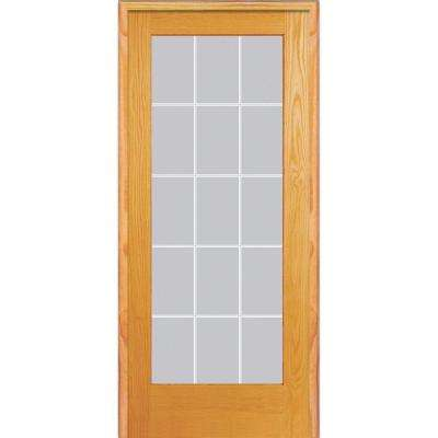 30 in. x 80 in. Right Hand Unfinished Pine Glass 15-Lite Clear V-Groove Single Prehung Interior Door