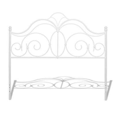 Rhapsody Glossy White Queen Metal Headboard with Curved Grill Design and Finial Posts