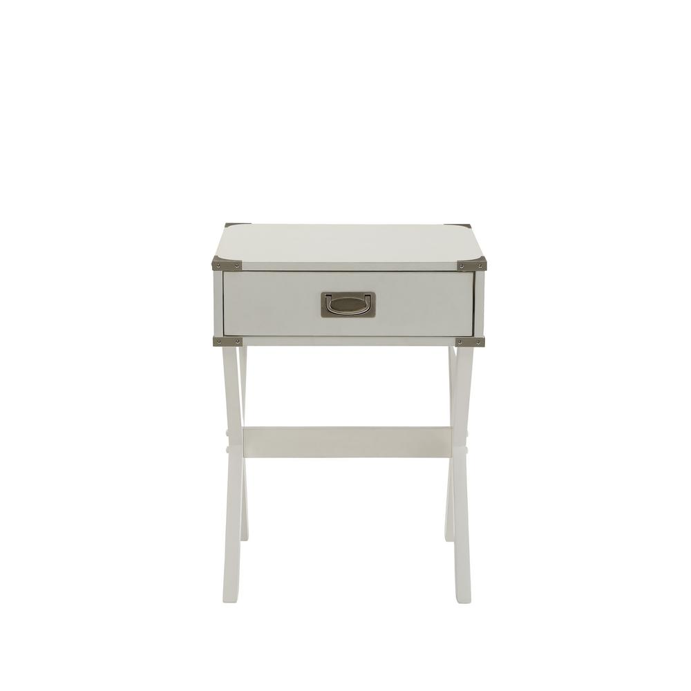 Babs White Storage End Table
