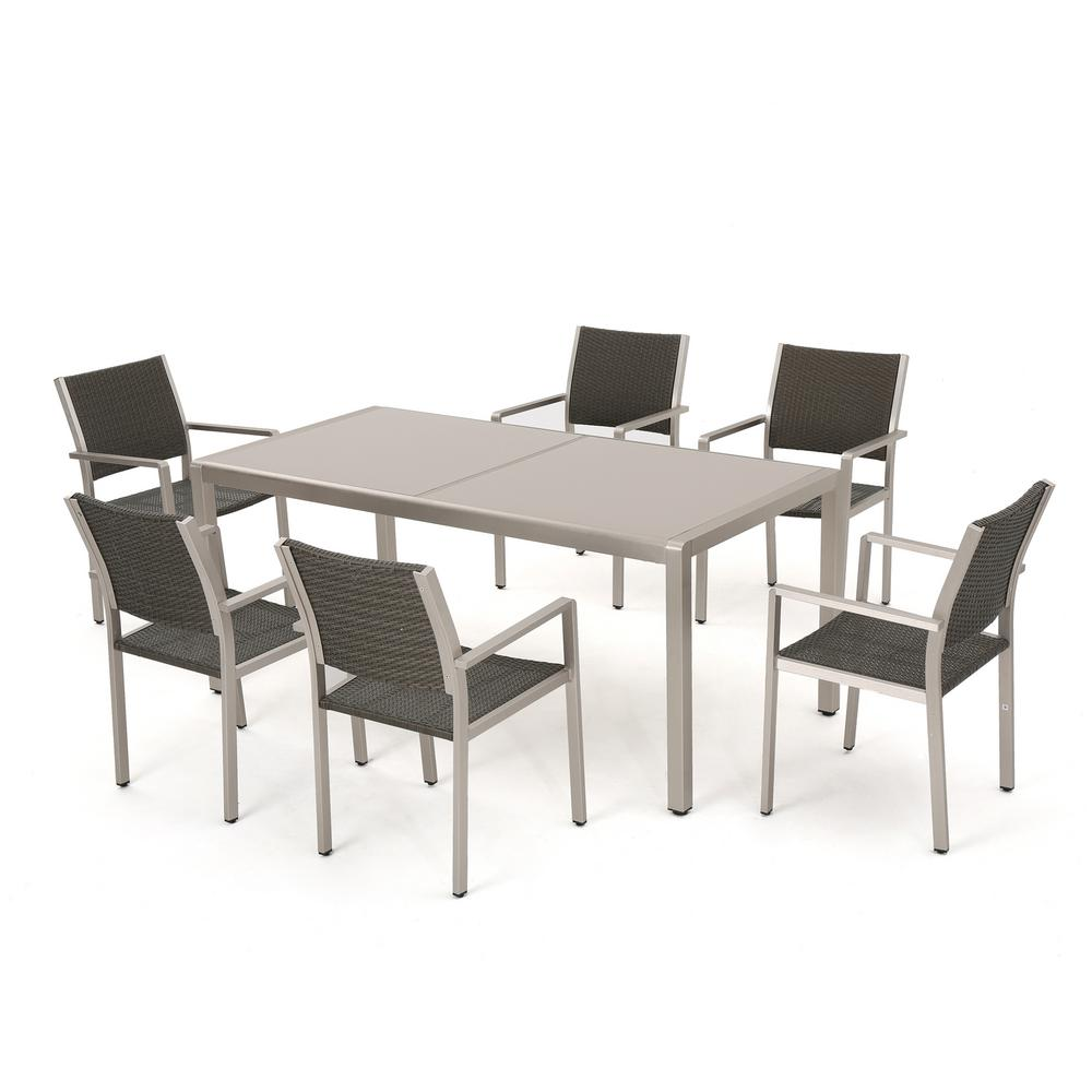 Noble House Cape Coral Grey 7 Piece Aluminum Rectangular Outdoor Dining Set