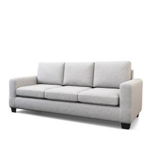 Shay 83 in. Light Gray Polyester Upholstered 3-Seater Track Arm Sofa with Square Arms