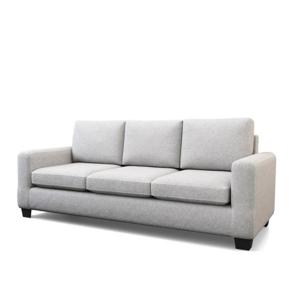 Shay83 in.Light Gray Polyester Upholstered 3-Seater Track Arm Sofawith Square Arms