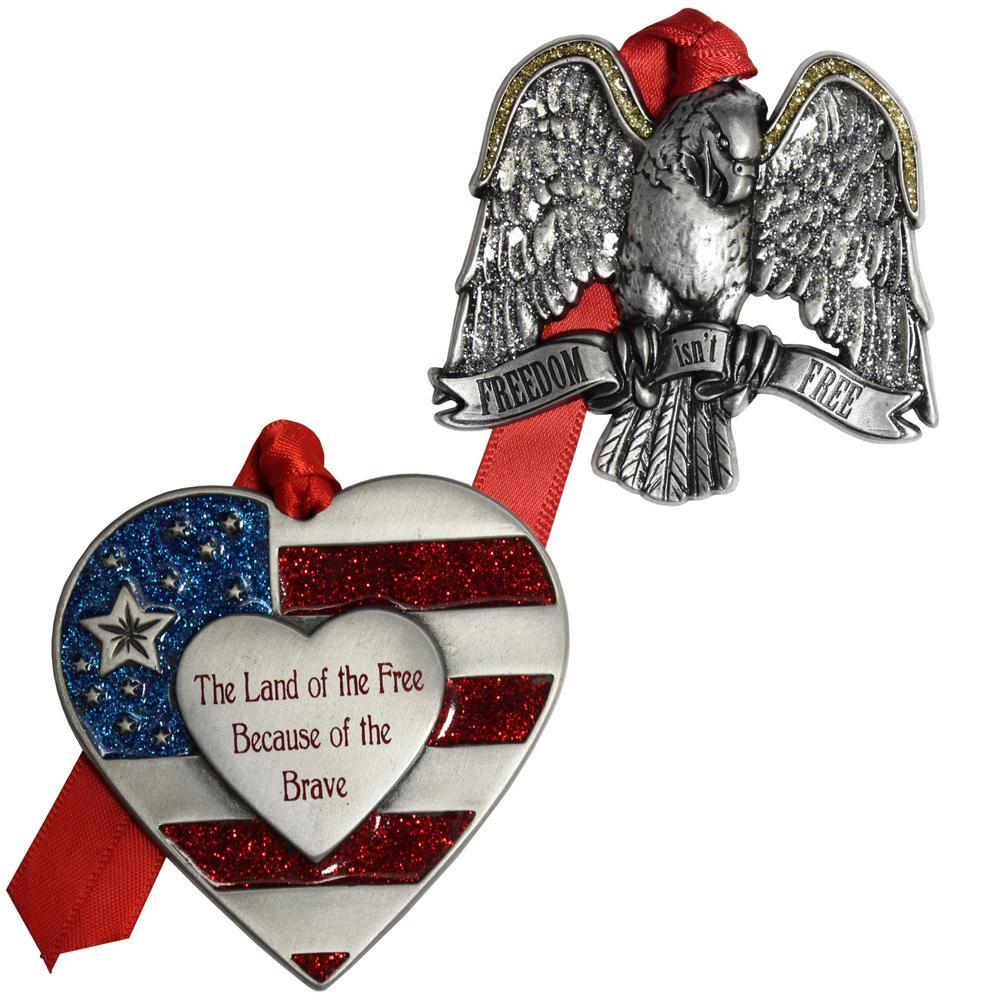 Patriotic Heart and Eagle Ornament Set