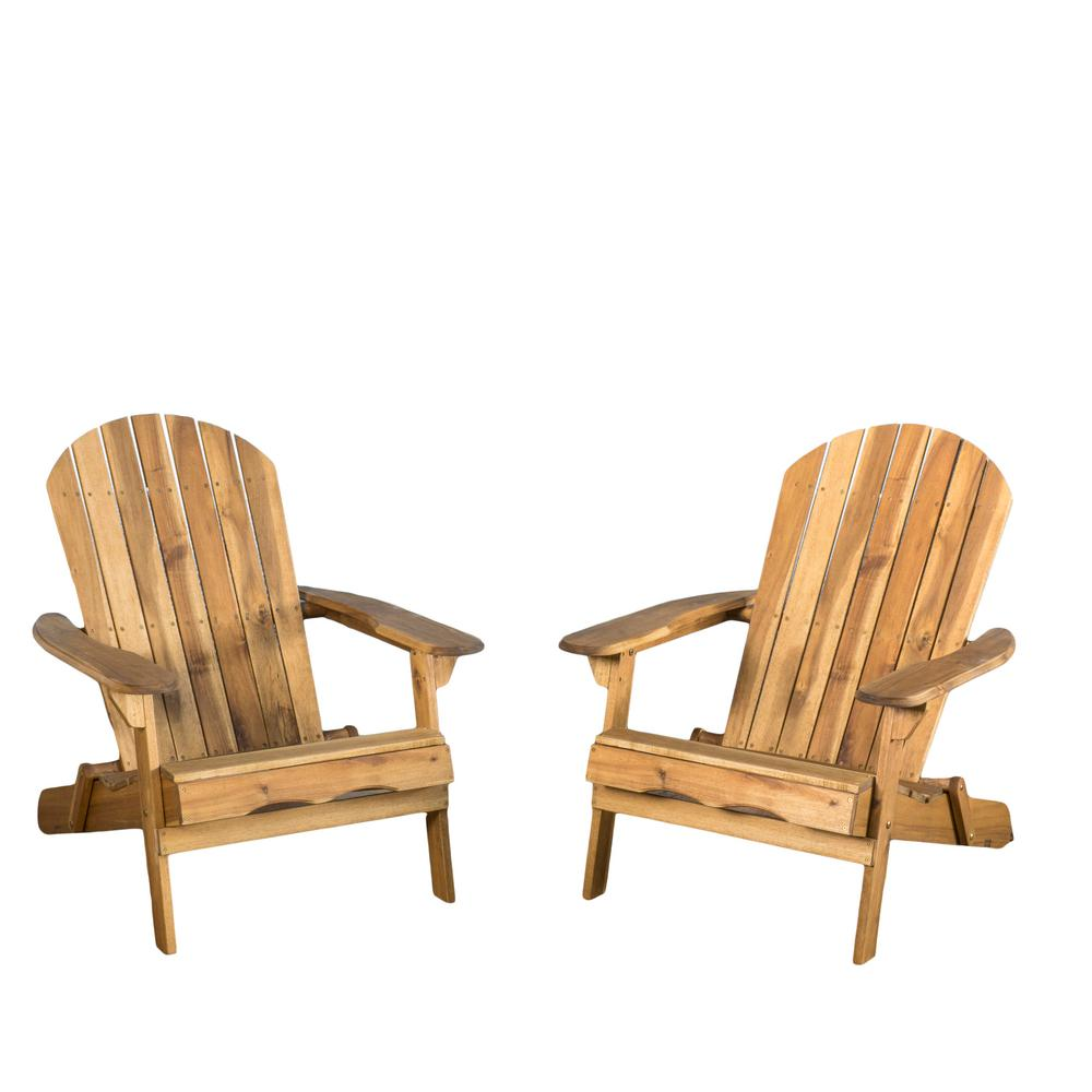 Noble House Obadiah Natural Stained Folding Wood Adirondack Chair 2 Pack 40721 The Home Depot