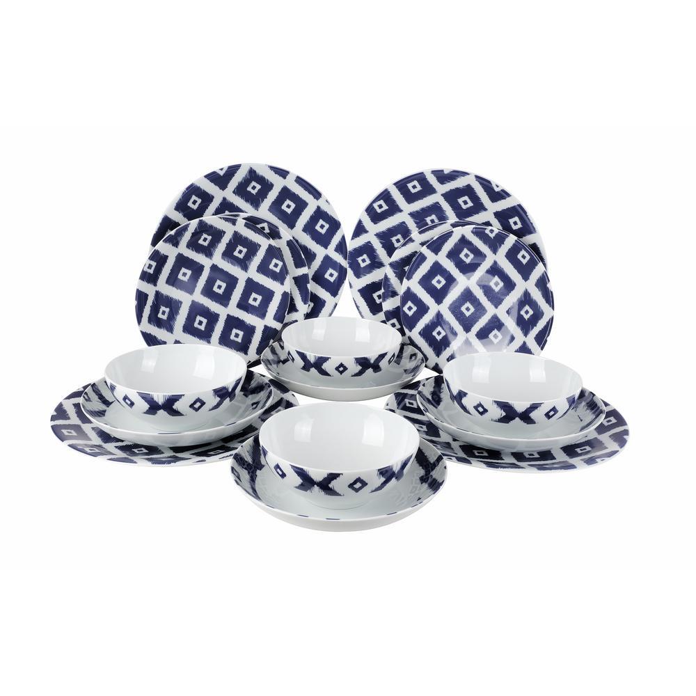 Kutahya Zuegma Tape Collection 16-Piece in Blue Porcelain Dinnerware Set