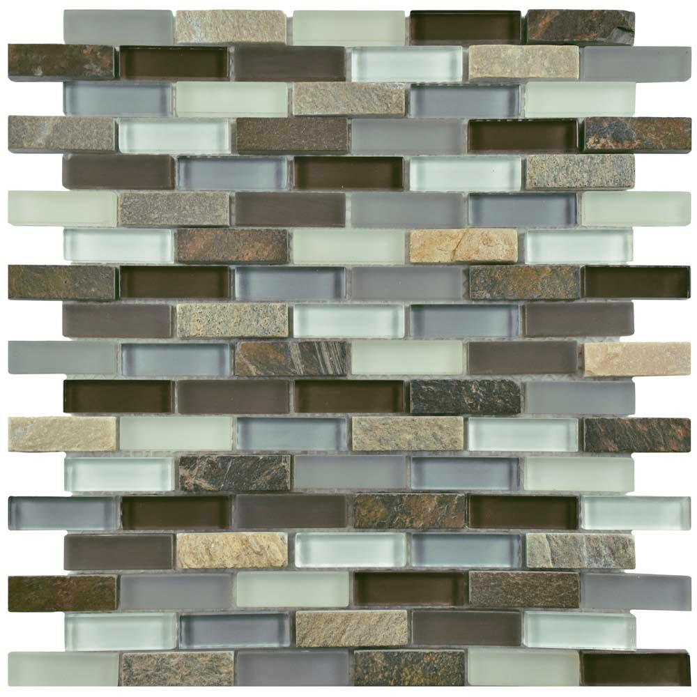 Merola Tile Tessera Subway Tundra 11-3/4 in. x 11-3/4 in. x 8 mm Glass and Stone Mosaic Tile