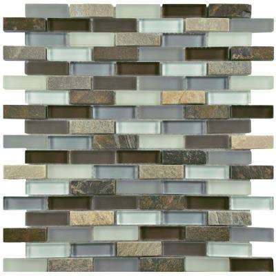 Tessera Subway Tundra 10-3/4 in. x 11-3/4 in. x 8 mm Glass and Stone Mosaic Tile