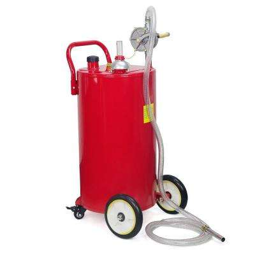 35 Gal. Portable Gas Caddy Fuel Transfer Pump Rolling Gas Can