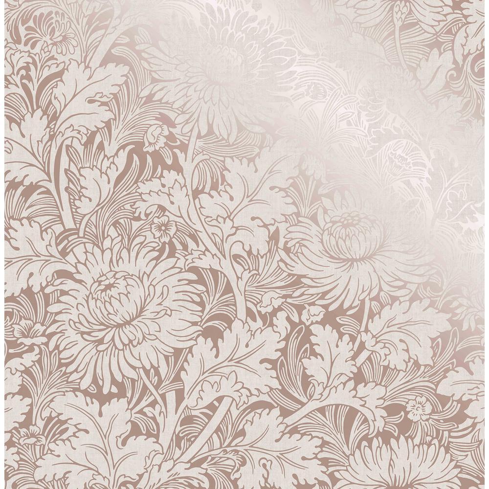 Zinnia Rose Gold Floral Wallpaper Sample