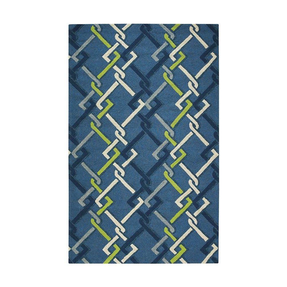Home Decorators Collection Interlock Ocean 8 ft. x 10 ft. Area Rug