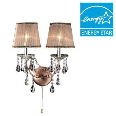 Rosie 2-Light Antique Copper Sconces with Crystal
