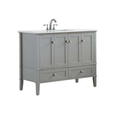 42 in. W x 21.5 in. D x 34.7 in. H Vanity in Grey with Engineered Quartz Marble Vanity Top in White with White Basin