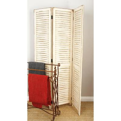 48 in. x 71 in. Distressed Ivory Wood 3-Panel Screen