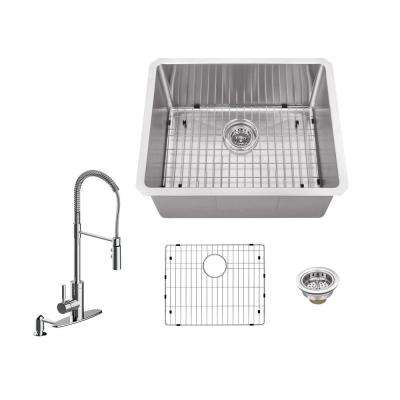 All-in-One Undermount Stainless Steel 23 in. Single Bowl Kitchen Sink with Faucet