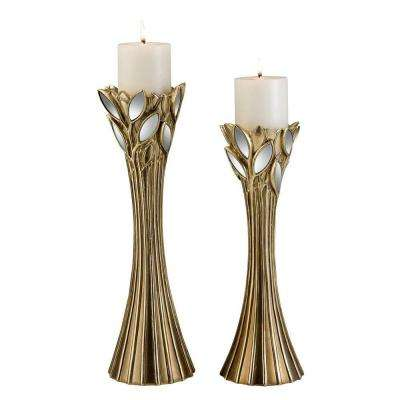 14 in. and 16 in. Gold Finish GAIA Candle Holder Set with Glass Leaf