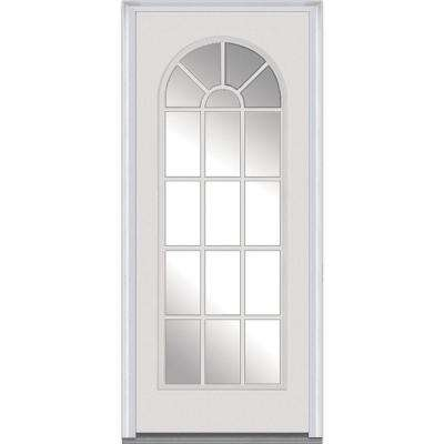 36 in. x 80 in. Right-Hand Inswing Full Lite Round Top Clear Classic Primed Fiberglass Smooth Prehung Front Door
