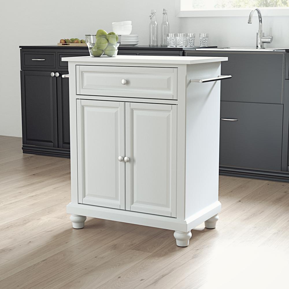 Cambridge White Portable Kitchen Island with Granite Top