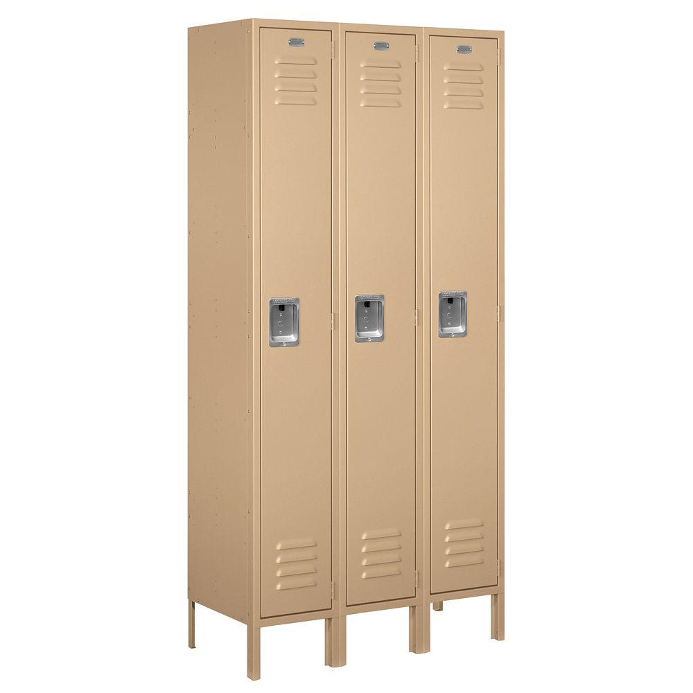 Salsbury Industries 61000 Series 36 in. W x 78 in. H x 15 in. D Single Tier Metal Locker Unassembled in Tan