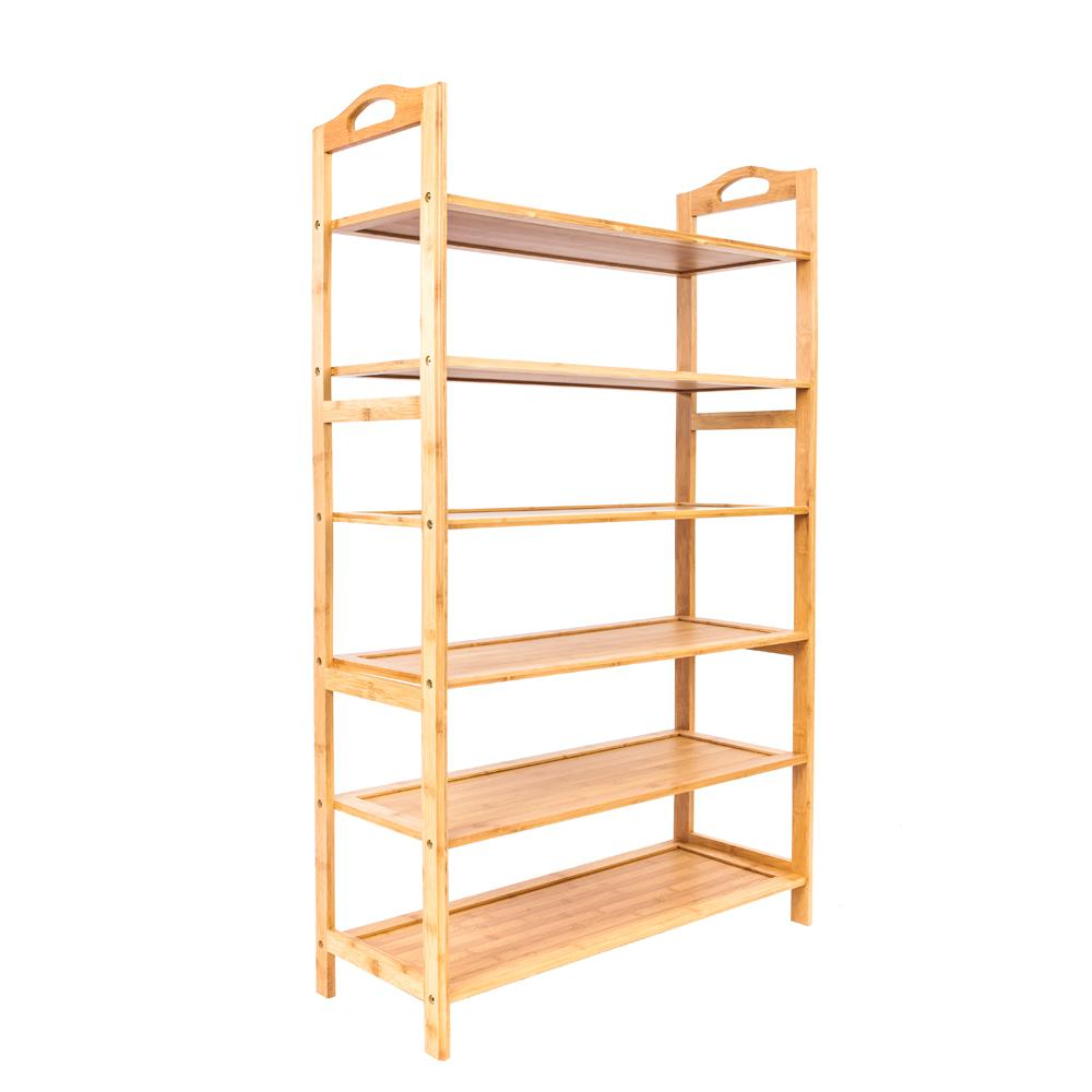 20-Pair Wood Color Portable Bamboo Board Shoe Organizer Rack