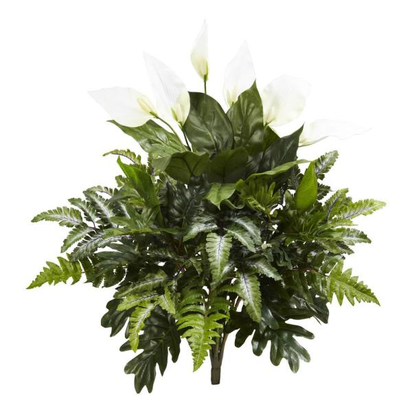 Indoor 27 in. Mixed Spathiphyllum Artificial Plant (2-Set)