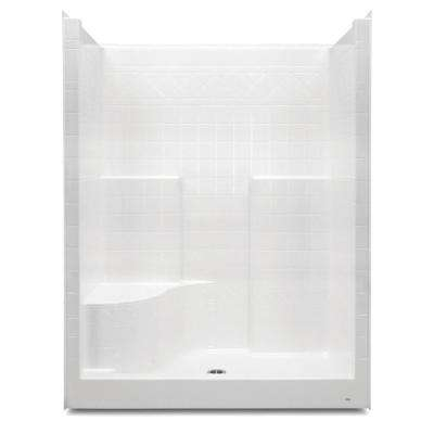 Everyday 60 in. x 36 in. x 79 in. 1-Piece Shower Stall with Left Seat and Center Drain in White